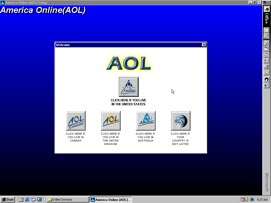 A setup program, asking the user to click on a specific button depending on if you live in the United States, Canada, United Kingdom, Australia, or if it is not listed.